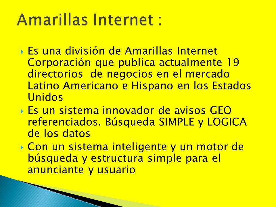 Es una división de Amarillas Internet Corporación que publica actualmente 19 directorios de negocios en el mercado Latino Americano e Hispano en los E