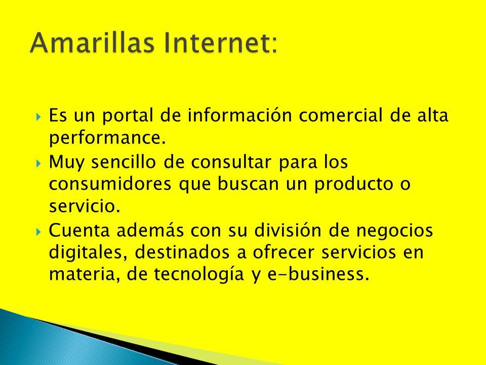 Es un portal de información comercial de alta performance. Muy sencillo de consultar para los consumidores que buscan un producto o servicio. Cuenta a