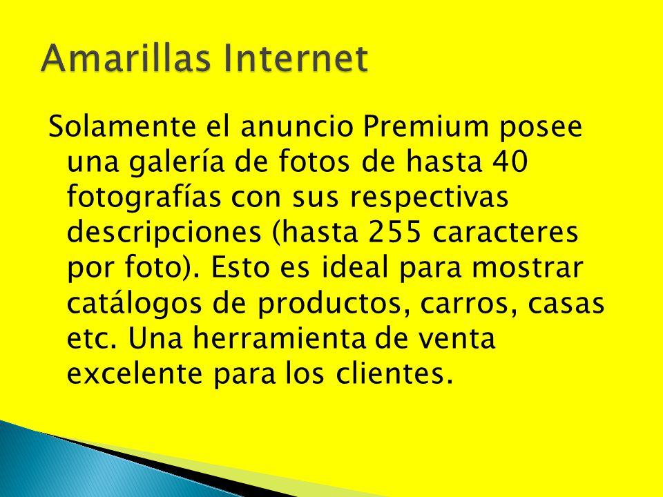 Solamente el anuncio Premium posee una galería de fotos de hasta 40 fotografías con sus respectivas descripciones (hasta 255 caracteres por foto). Est