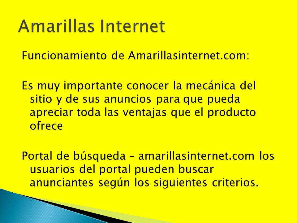 Funcionamiento de Amarillasinternet.com: Es muy importante conocer la mecánica del sitio y de sus anuncios para que pueda apreciar toda las ventajas q