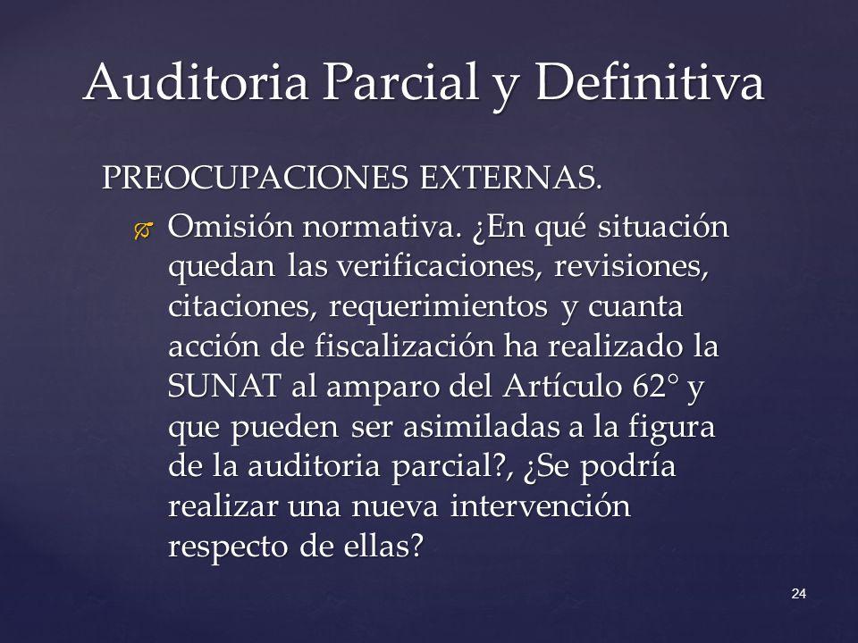 Auditoria Parcial y Definitiva 24 PREOCUPACIONES EXTERNAS. Omisión normativa. ¿En qué situación quedan las verificaciones, revisiones, citaciones, req