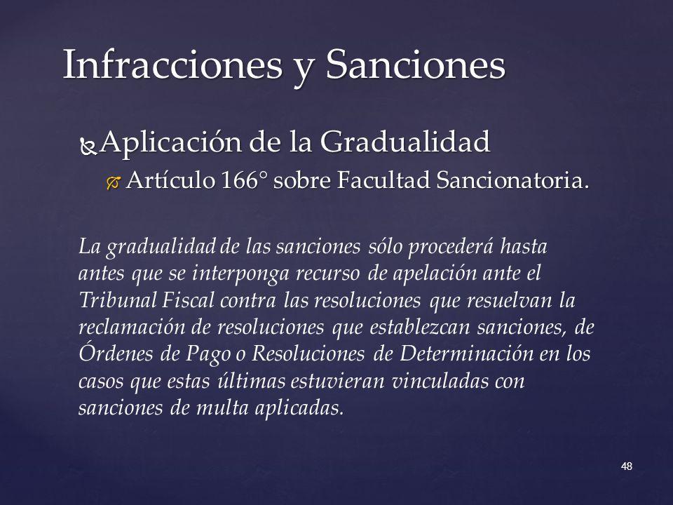 Aplicación de la Gradualidad Aplicación de la Gradualidad Artículo 166° sobre Facultad Sancionatoria.