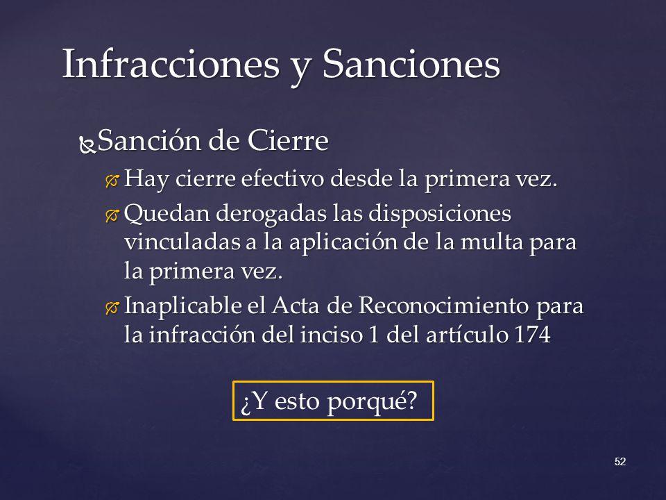 Sanción de Cierre Sanción de Cierre Hay cierre efectivo desde la primera vez.