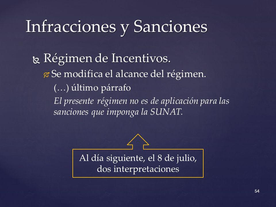 Régimen de Incentivos. Régimen de Incentivos. Se modifica el alcance del régimen. (…) último párrafo El presente régimen no es de aplicación para las