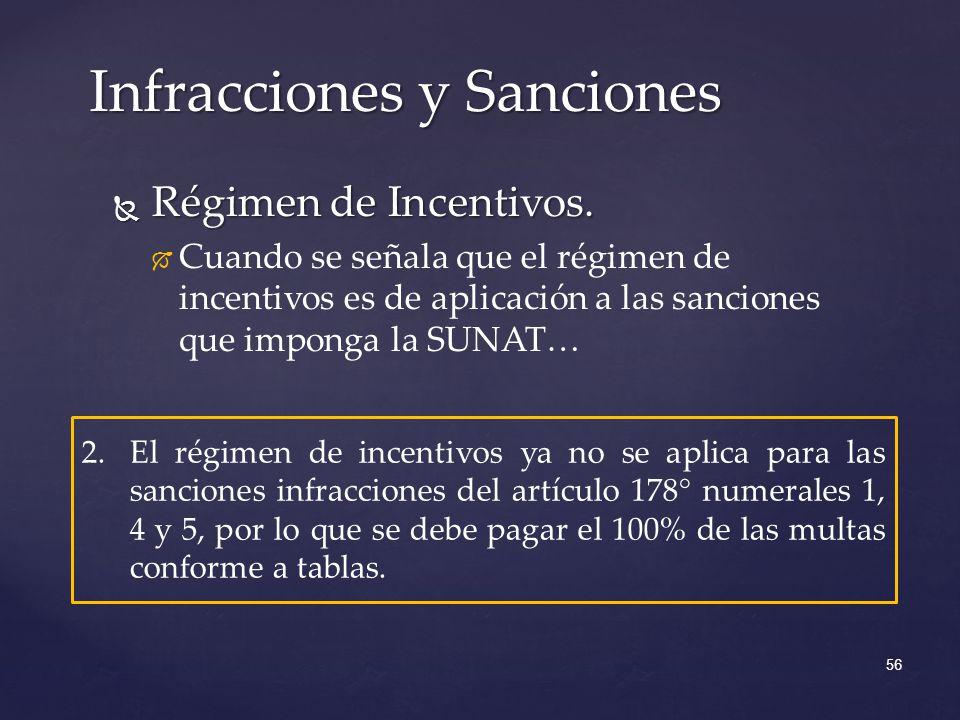 Régimen de Incentivos. Régimen de Incentivos. Cuando se señala que el régimen de incentivos es de aplicación a las sanciones que imponga la SUNAT… Inf