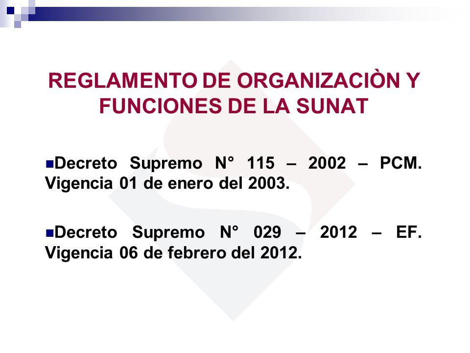REGLAMENTO DE ORGANIZACIÒN Y FUNCIONES DE LA SUNAT Decreto Supremo N° 115 – 2002 – PCM. Vigencia 01 de enero del 2003. Decreto Supremo N° 029 – 2012 –