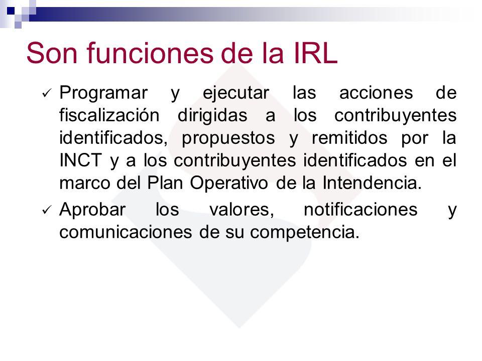 Son funciones de la IRL Programar y ejecutar las acciones de fiscalización dirigidas a los contribuyentes identificados, propuestos y remitidos por la