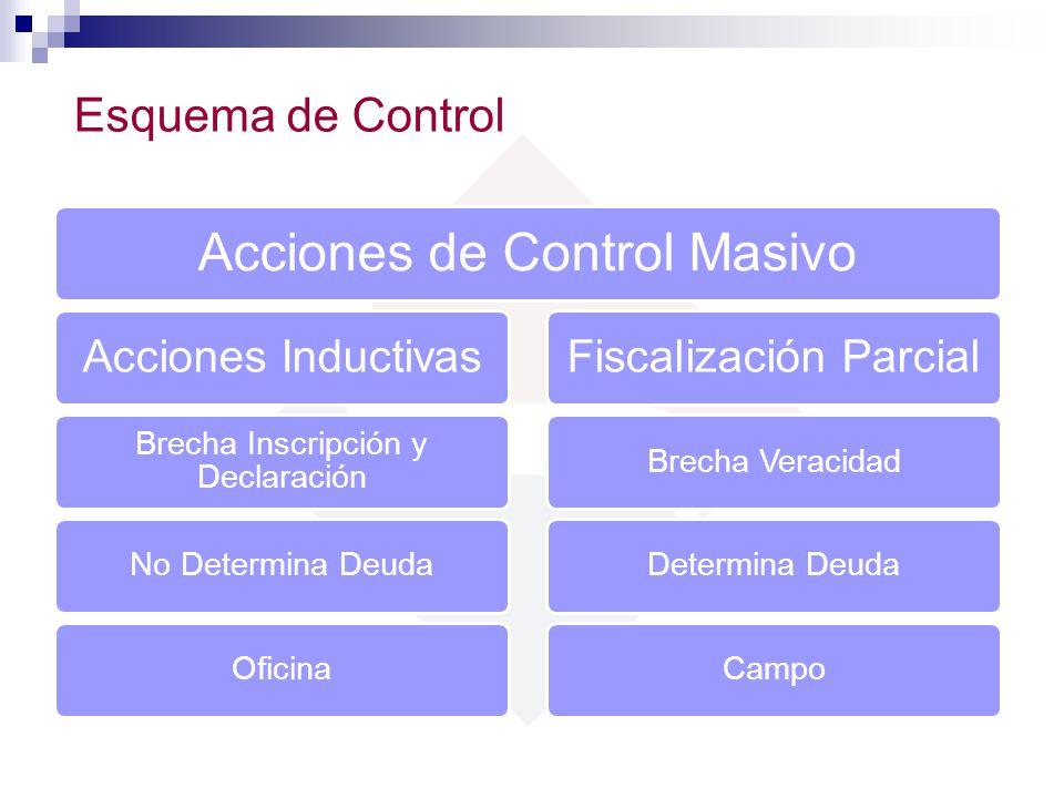 Acciones de Control Masivo Acciones Inductivas Brecha Inscripción y Declaración No Determina DeudaOficina Fiscalización Parcial Brecha VeracidadDeterm
