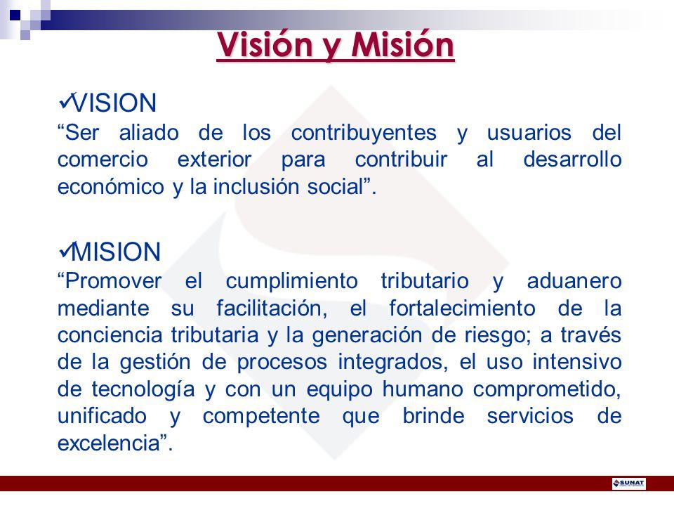 Visión y Misión VISION Ser aliado de los contribuyentes y usuarios del comercio exterior para contribuir al desarrollo económico y la inclusión social