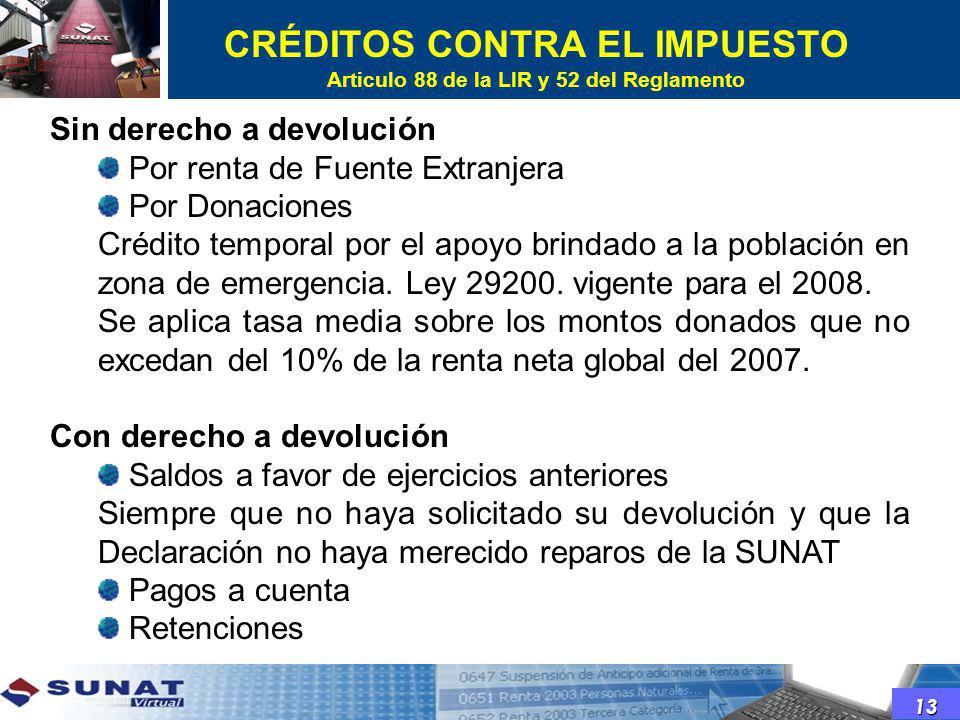 Sin derecho a devolución Por renta de Fuente Extranjera Por Donaciones Crédito temporal por el apoyo brindado a la población en zona de emergencia. Le