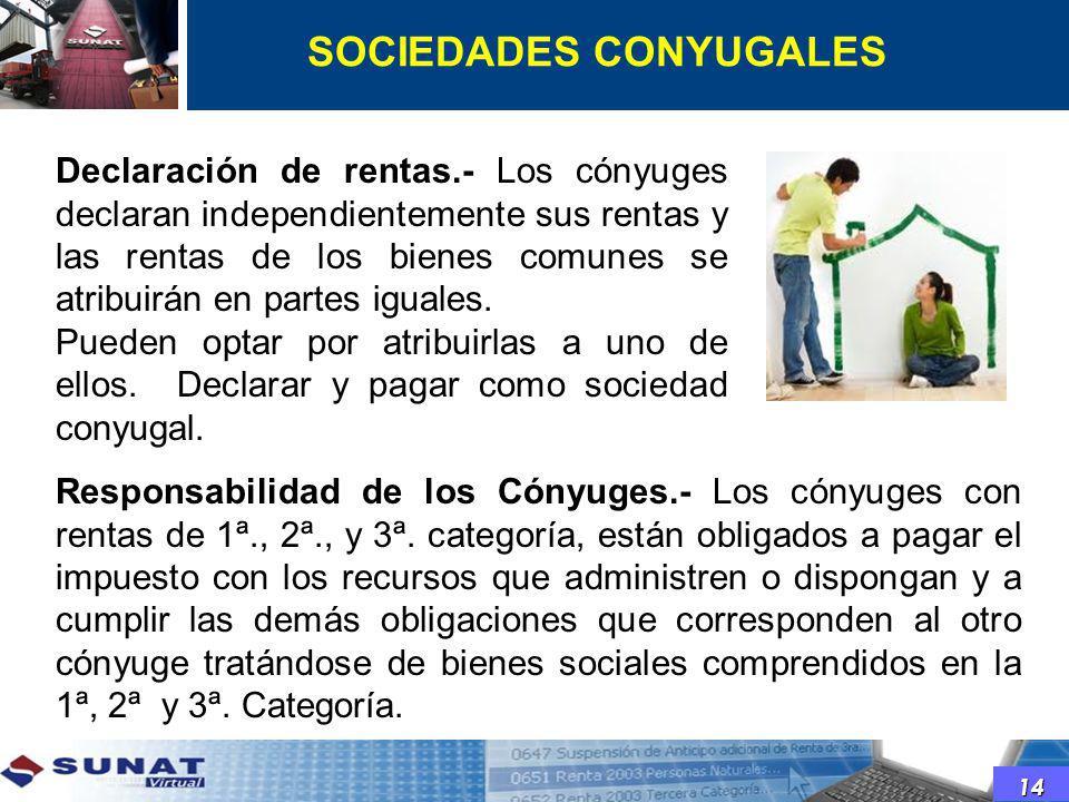 Declaración de rentas.- Los cónyuges declaran independientemente sus rentas y las rentas de los bienes comunes se atribuirán en partes iguales. Pueden