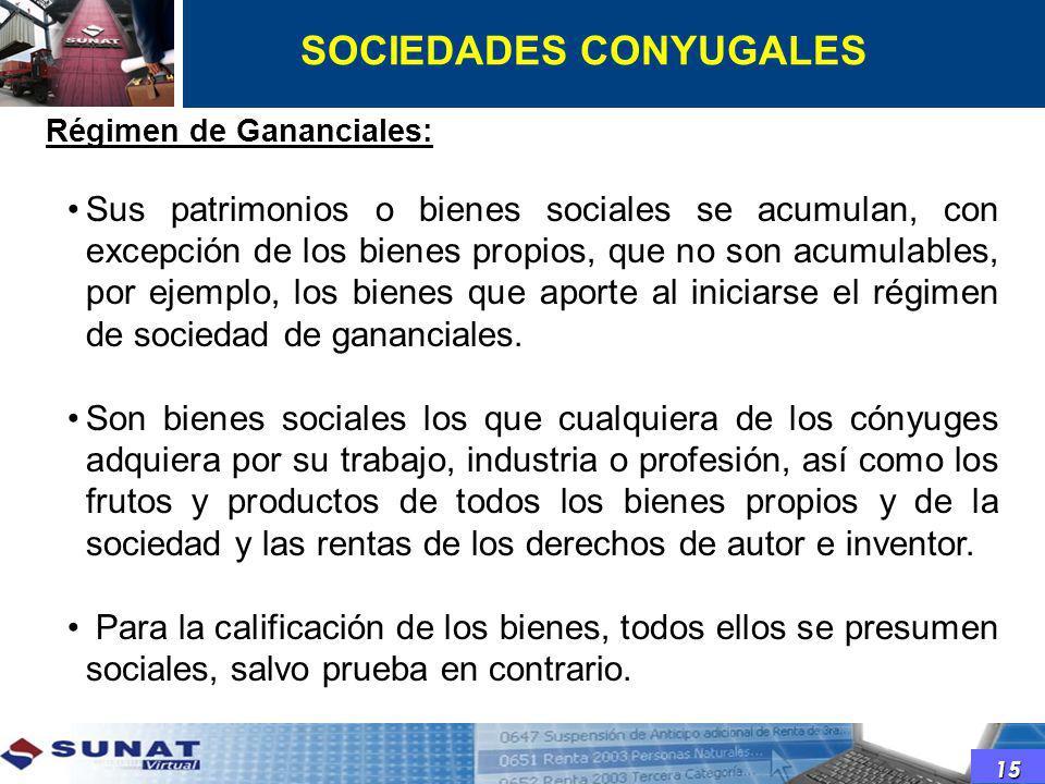 Régimen de Gananciales: Sus patrimonios o bienes sociales se acumulan, con excepción de los bienes propios, que no son acumulables, por ejemplo, los b