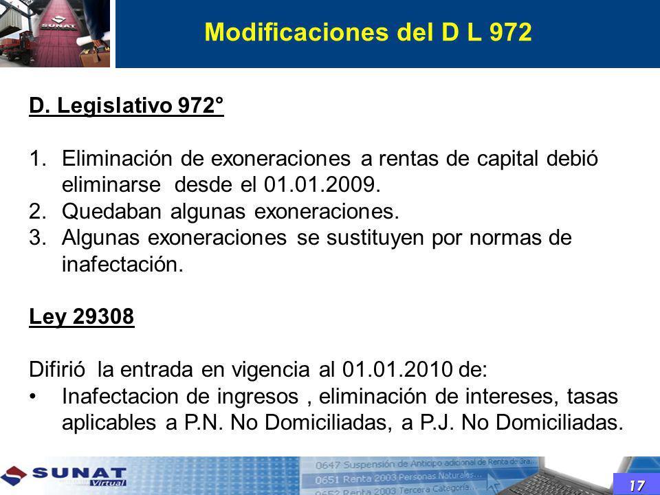 D. Legislativo 972° 1.Eliminación de exoneraciones a rentas de capital debió eliminarse desde el 01.01.2009. 2.Quedaban algunas exoneraciones. 3.Algun