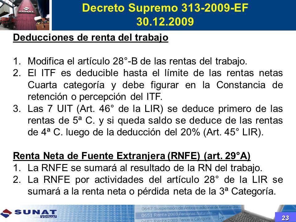 Deducciones de renta del trabajo 1.Modifica el artículo 28°-B de las rentas del trabajo. 2.El ITF es deducible hasta el límite de las rentas netas Cua