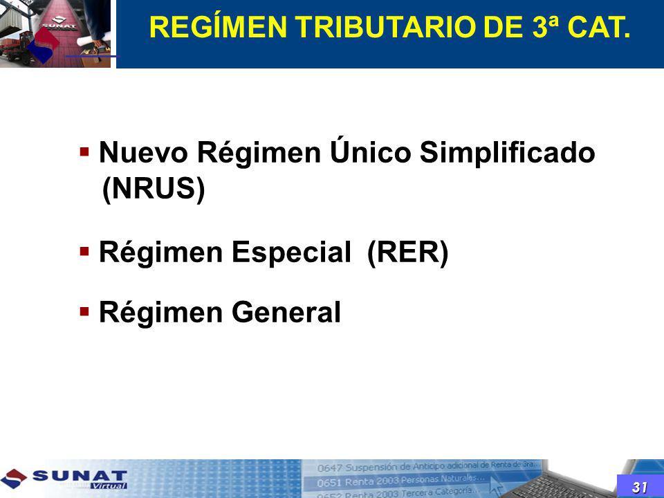 Nuevo Régimen Único Simplificado (NRUS) Régimen Especial (RER) Régimen General REGÍMEN TRIBUTARIO DE 3ª CAT. 31
