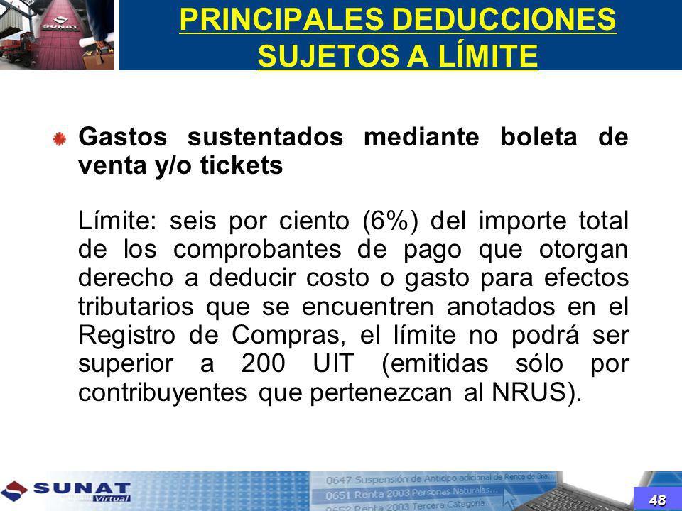 PRINCIPALES DEDUCCIONES SUJETOS A LÍMITE Gastos sustentados mediante boleta de venta y/o tickets Límite: seis por ciento (6%) del importe total de los