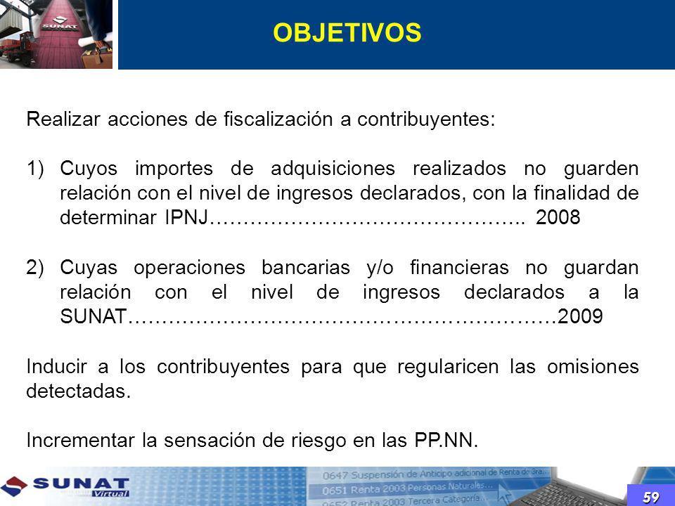 OBJETIVOS 59 Realizar acciones de fiscalización a contribuyentes: 1)Cuyos importes de adquisiciones realizados no guarden relación con el nivel de ing