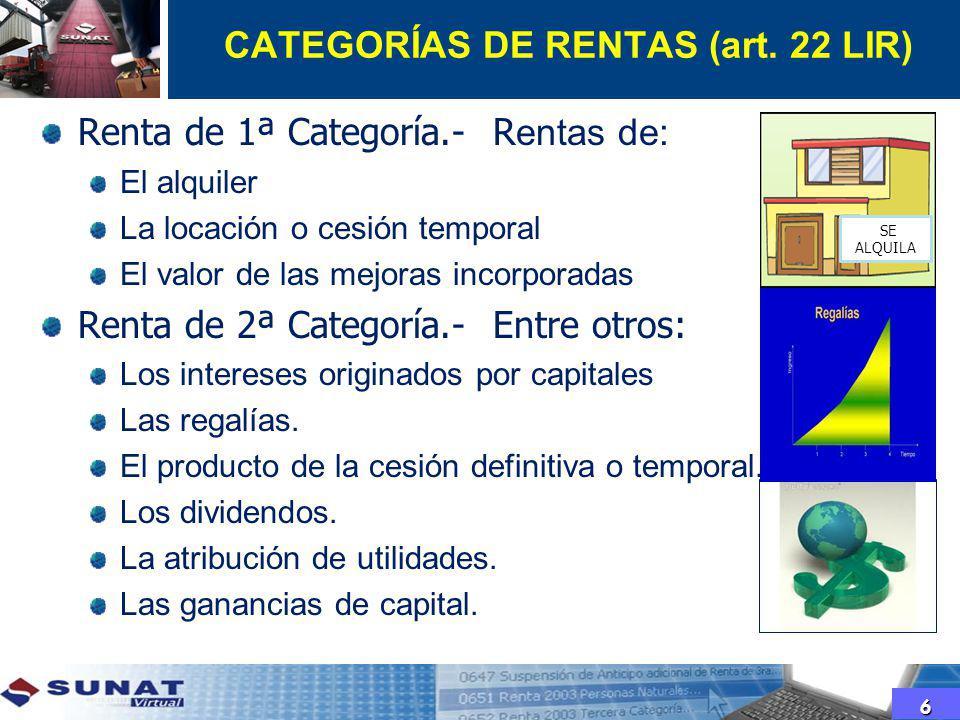 CATEGORÍAS DE RENTAS (art. 22 LIR) Renta de 1ª Categoría.- R entas de: El alquiler La locación o cesión temporal El valor de las mejoras incorporadas