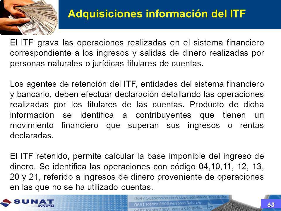 El ITF grava las operaciones realizadas en el sistema financiero correspondiente a los ingresos y salidas de dinero realizadas por personas naturales