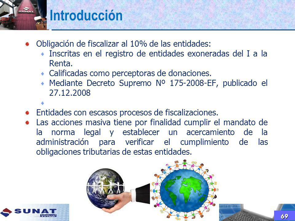 Introducción Obligación de fiscalizar al 10% de las entidades: Inscritas en el registro de entidades exoneradas del I a la Renta. Calificadas como per