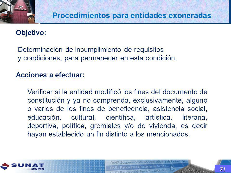 71 Objetivo: Determinación de incumplimiento de requisitos y condiciones, para permanecer en esta condición. Acciones a efectuar: Verificar si la enti
