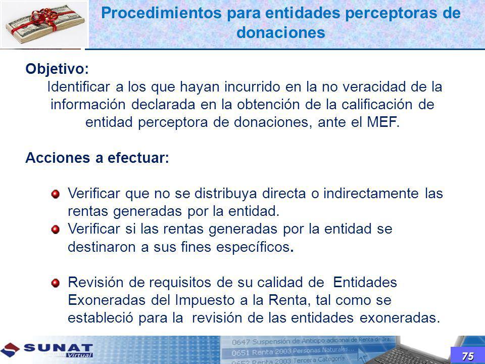 Objetivo: Identificar a los que hayan incurrido en la no veracidad de la información declarada en la obtención de la calificación de entidad perceptor