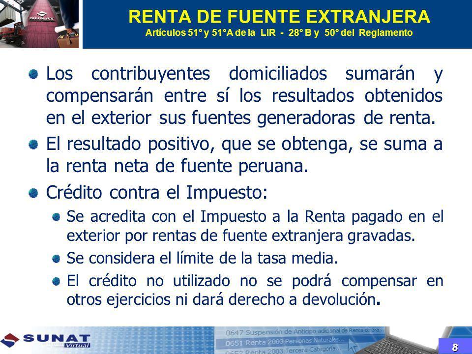 RENTA DE FUENTE EXTRANJERA Artículos 51° y 51°A de la LIR - 28° B y 50° del Reglamento Los contribuyentes domiciliados sumarán y compensarán entre sí