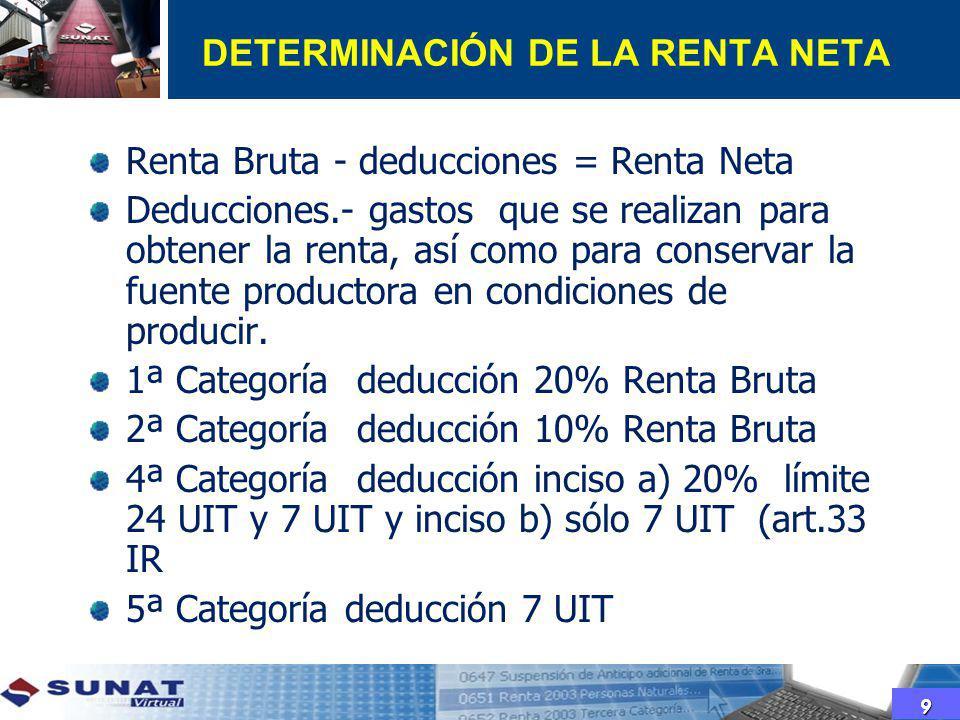 DETERMINACIÓN DE LA RENTA NETA Renta Bruta - deducciones = Renta Neta Deducciones.- gastos que se realizan para obtener la renta, así como para conser
