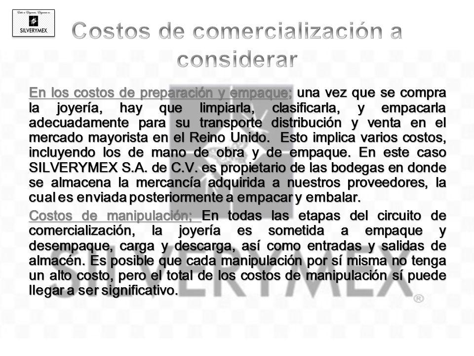 Costos de transporte; En todas las etapas de la cadena de comercialización los costos varían principalmente de acuerdo a la distancia que exista entre SILVERYMEX S.A DE C.V y el target.