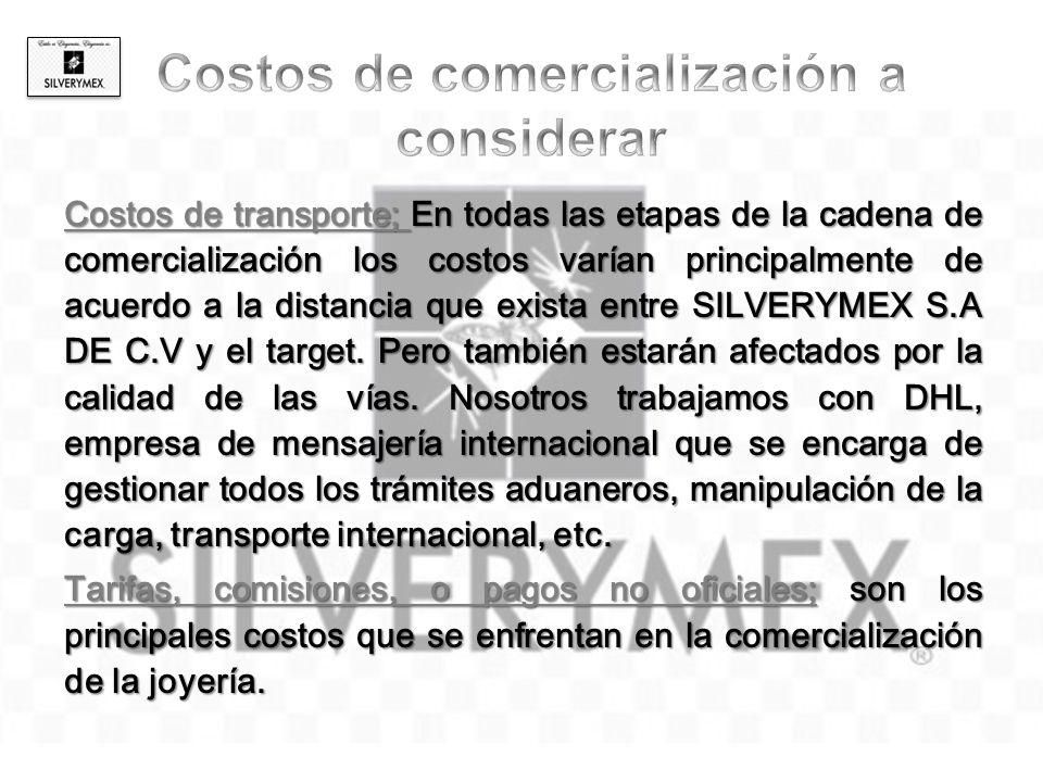 Costos de transporte; En todas las etapas de la cadena de comercialización los costos varían principalmente de acuerdo a la distancia que exista entre