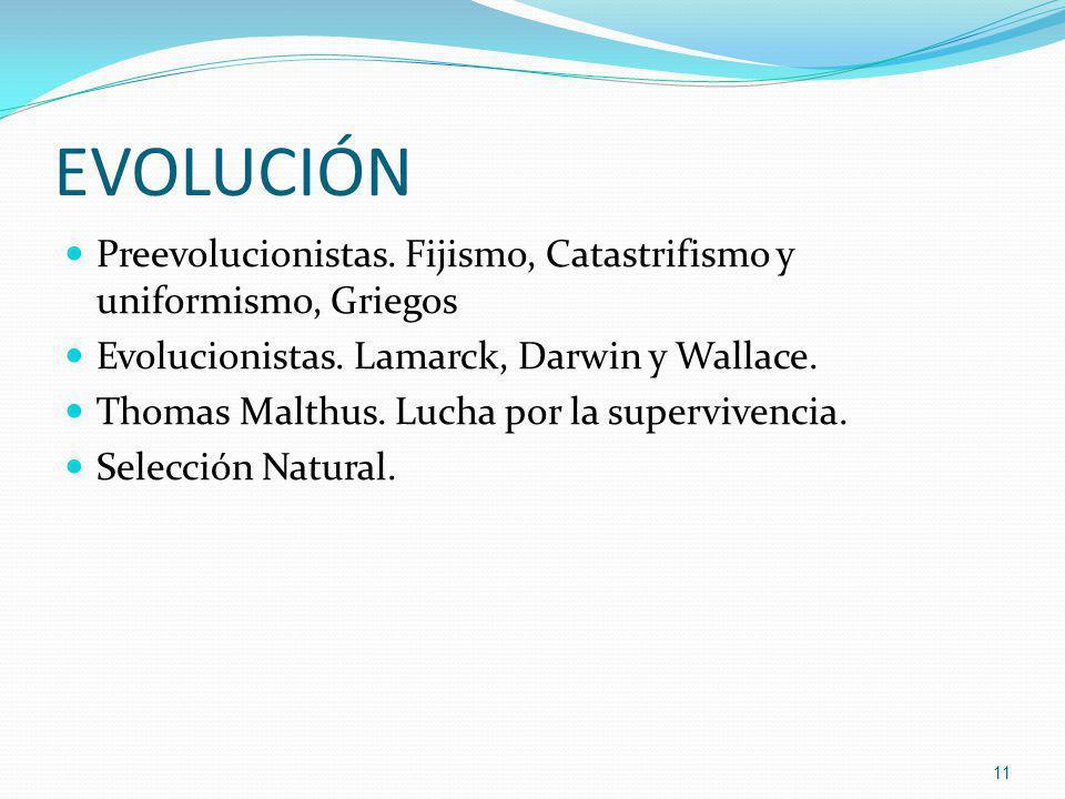 EVOLUCIÓN Preevolucionistas. Fijismo, Catastrifismo y uniformismo, Griegos Evolucionistas. Lamarck, Darwin y Wallace. Thomas Malthus. Lucha por la sup