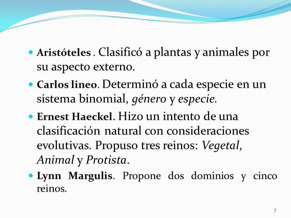 Aristóteles. Clasificó a plantas y animales por su aspecto externo. Carlos lineo. Determinó a cada especie en un sistema binomial, género y especie. E
