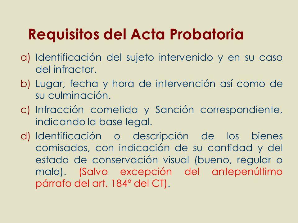 a)Identificación del sujeto intervenido y en su caso del infractor. b)Lugar, fecha y hora de intervención así como de su culminación. c)Infracción com