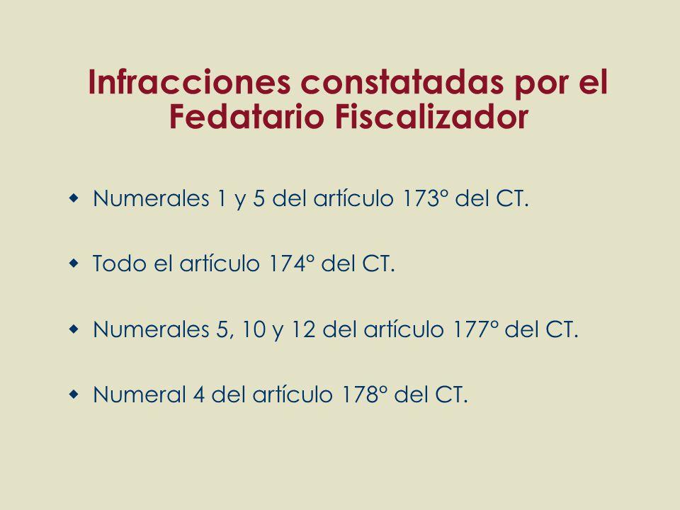 Infracciones constatadas por el Fedatario Fiscalizador Numerales 1 y 5 del artículo 173° del CT. Todo el artículo 174° del CT. Numerales 5, 10 y 12 de