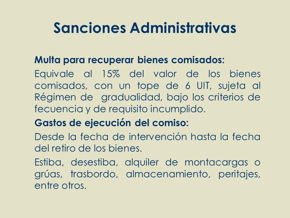 Sanciones Administrativas Multa para recuperar bienes comisados: Equivale al 15% del valor de los bienes comisados, con un tope de 6 UIT, sujeta al Ré