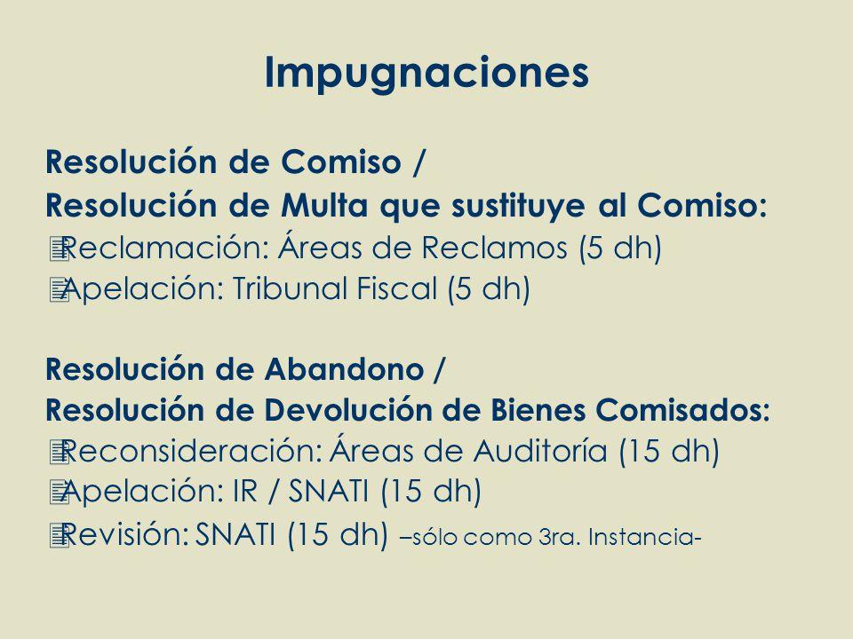 Impugnaciones Resolución de Comiso / Resolución de Multa que sustituye al Comiso: Reclamación: Áreas de Reclamos (5 dh) Apelación: Tribunal Fiscal (5