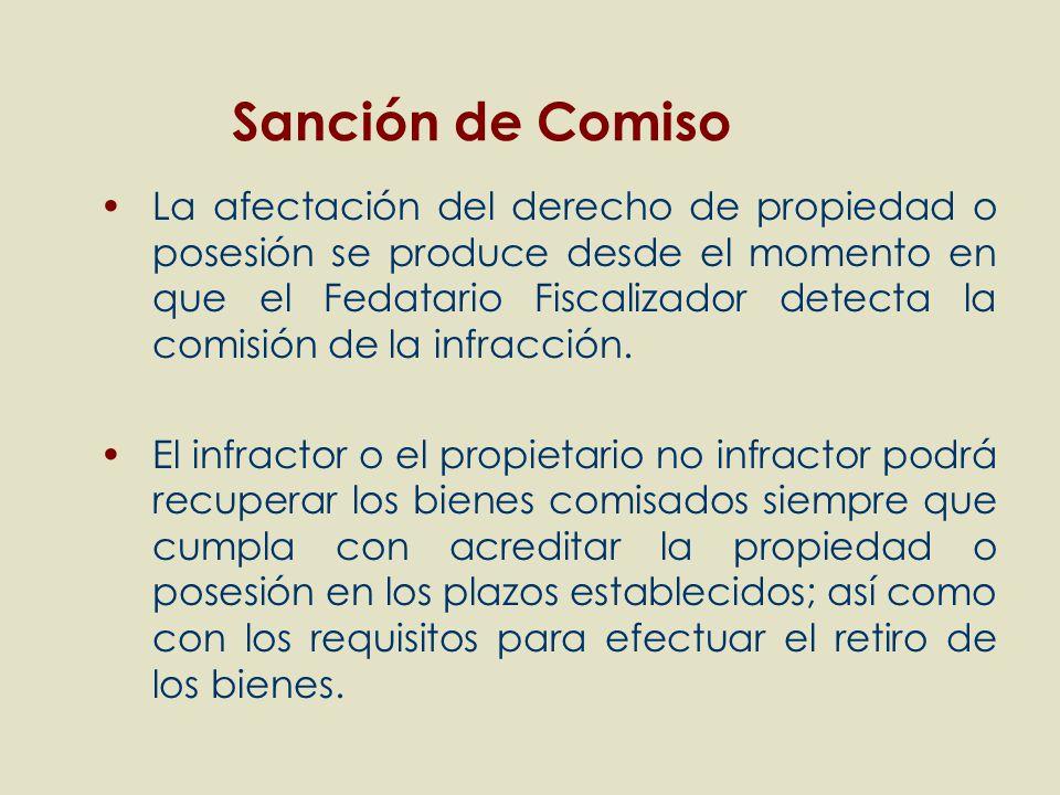 La afectación del derecho de propiedad o posesión se produce desde el momento en que el Fedatario Fiscalizador detecta la comisión de la infracción. E