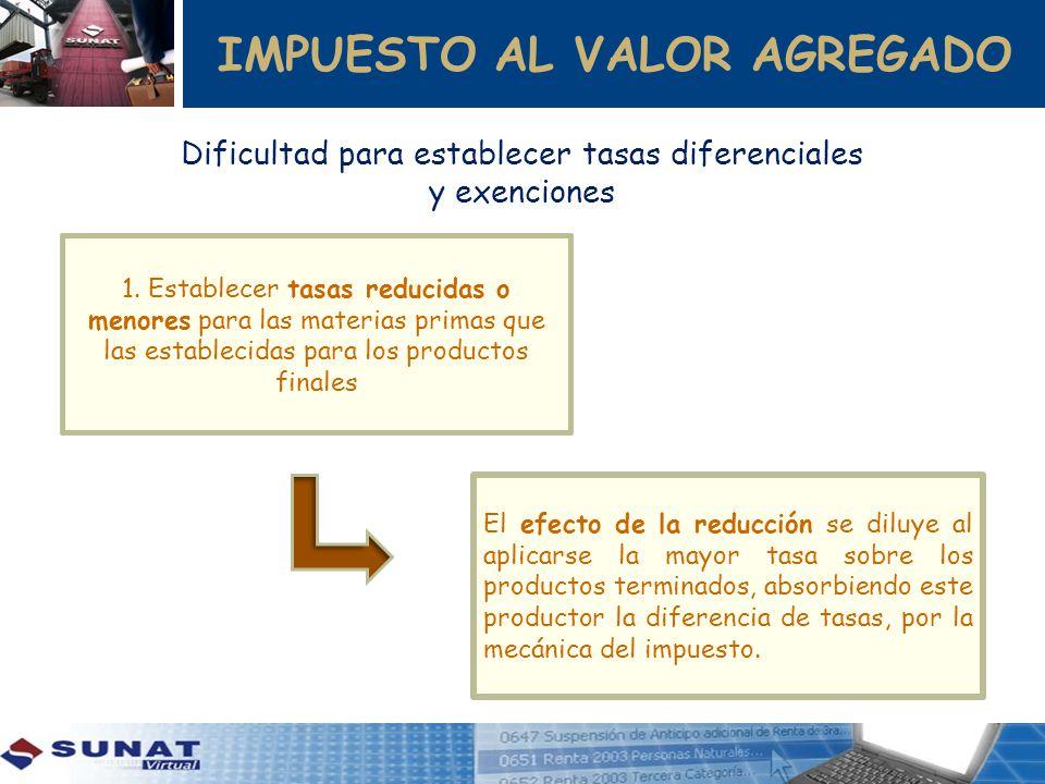 IMPUESTO AL VALOR AGREGADO 1. Establecer tasas reducidas o menores para las materias primas que las establecidas para los productos finales El efecto