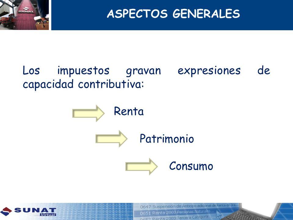 Los impuestos gravan expresiones de capacidad contributiva: Renta Patrimonio Consumo ASPECTOS GENERALES