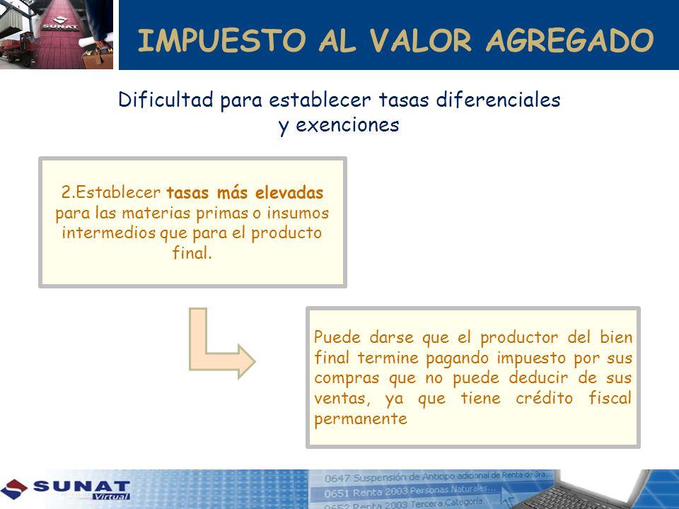 IMPUESTO AL VALOR AGREGADO 2.Establecer tasas más elevadas para las materias primas o insumos intermedios que para el producto final. Puede darse que