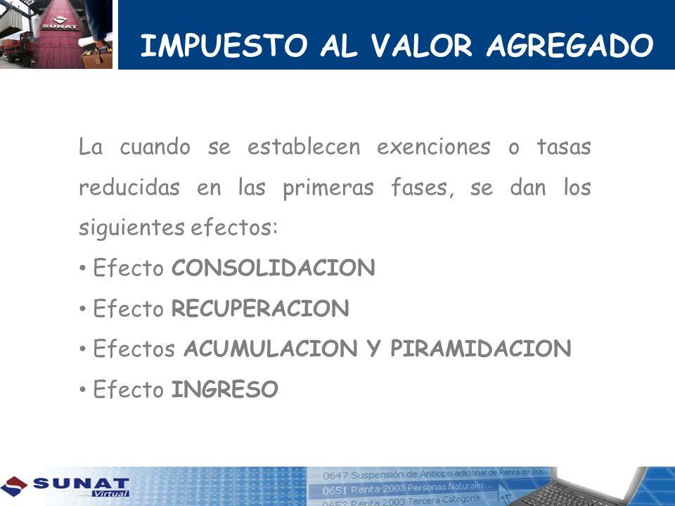 IMPUESTO AL VALOR AGREGADO La cuando se establecen exenciones o tasas reducidas en las primeras fases, se dan los siguientes efectos: Efecto CONSOLIDA