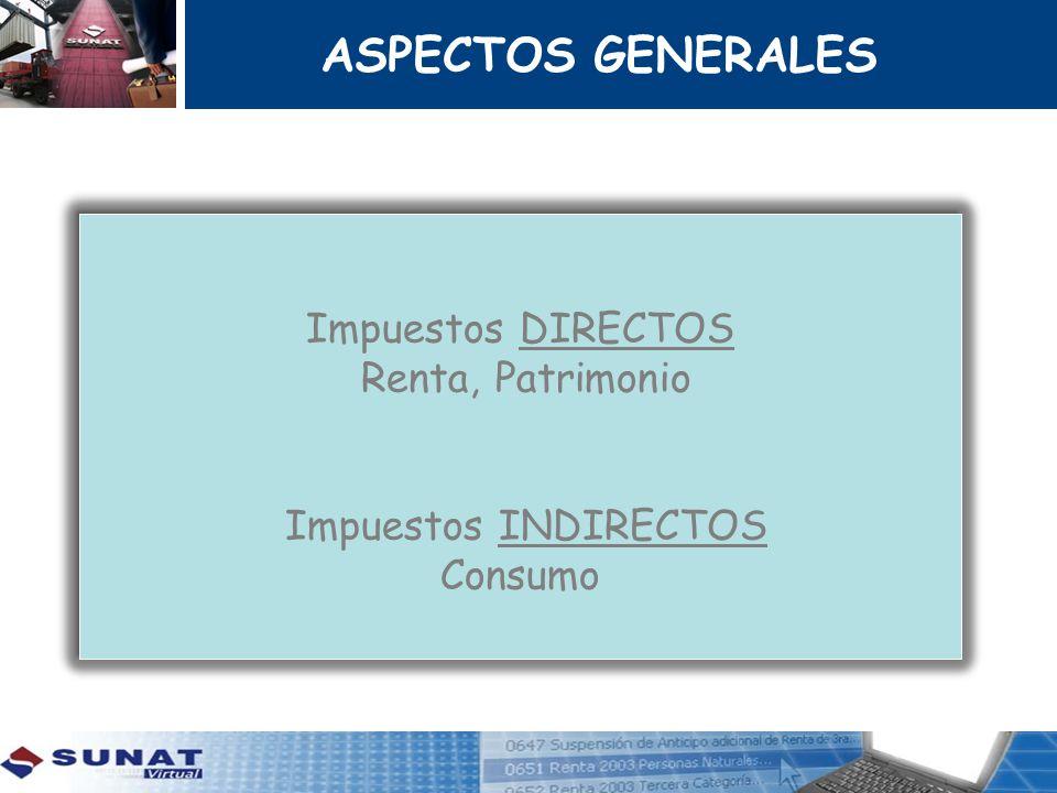 Impuestos DIRECTOS Renta, Patrimonio Impuestos INDIRECTOS Consumo Impuestos DIRECTOS Renta, Patrimonio Impuestos INDIRECTOS Consumo