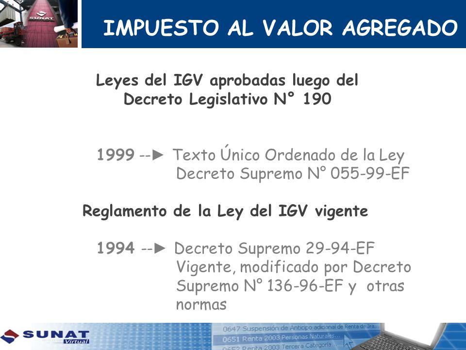 IMPUESTO AL VALOR AGREGADO Leyes del IGV aprobadas luego del Decreto Legislativo N° 190 1999 -- Texto Único Ordenado de la Ley Decreto Supremo N° 055-