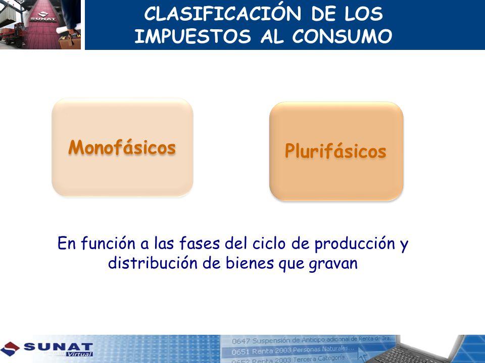 Monofásicos Plurifásicos CLASIFICACIÓN DE LOS IMPUESTOS AL CONSUMO En función a las fases del ciclo de producción y distribución de bienes que gravan