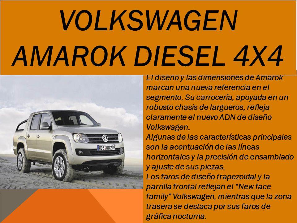 El diseño y las dimensiones de Amarok marcan una nueva referencia en el segmento. Su carrocería, apoyada en un robusto chasis de largueros, refleja cl