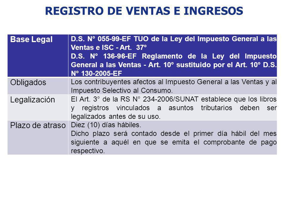 REGISTRO DE VENTAS E INGRESOS Base Legal D.S. N° 055-99-EF TUO de la Ley del Impuesto General a las Ventas e ISC - Art. 37° D.S. N° 136-96-EF Reglamen