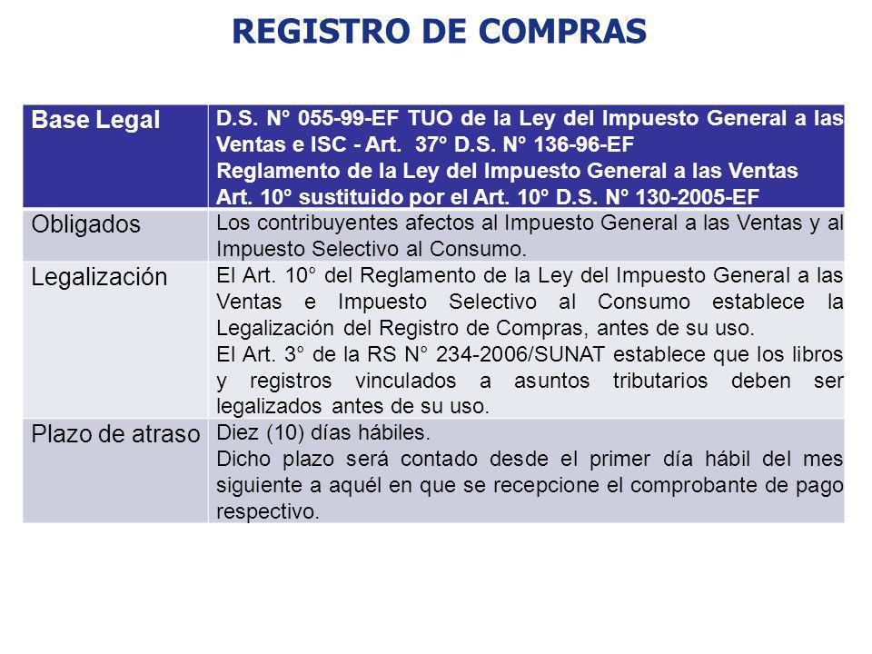 REGISTRO DE COMPRAS Base Legal D.S. N° 055-99-EF TUO de la Ley del Impuesto General a las Ventas e ISC - Art. 37° D.S. N° 136-96-EF Reglamento de la L