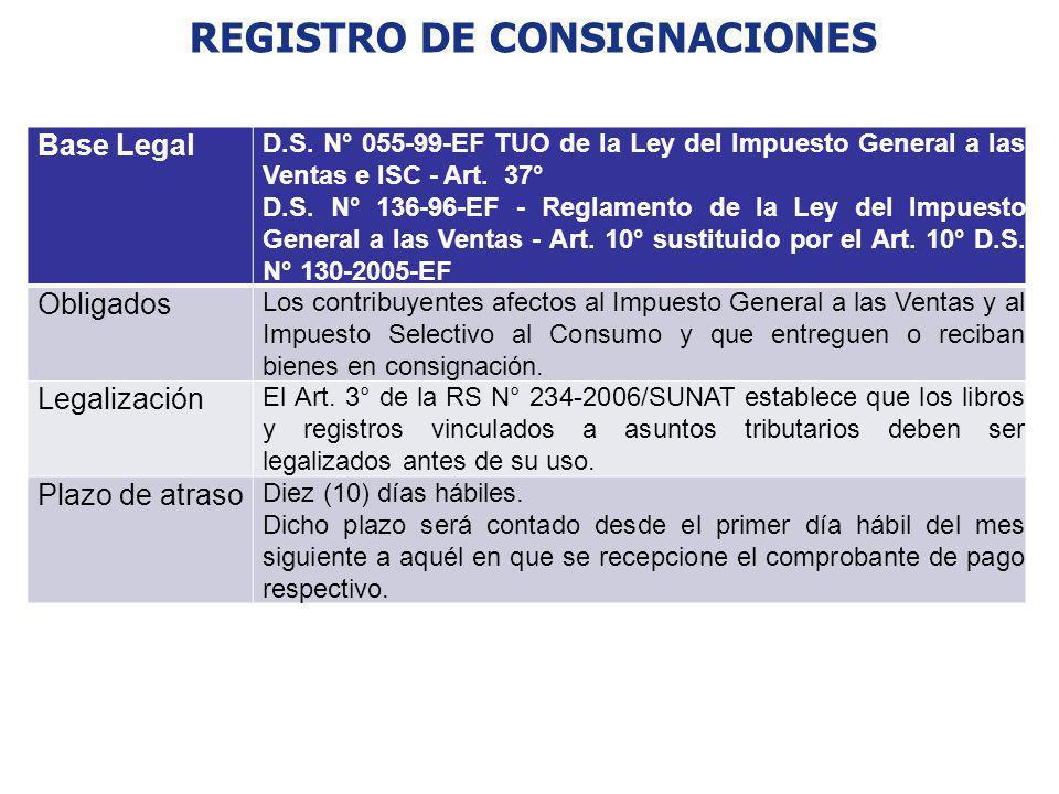 REGISTRO DE CONSIGNACIONES Base Legal D.S. N° 055-99-EF TUO de la Ley del Impuesto General a las Ventas e ISC - Art. 37° D.S. N° 136-96-EF - Reglament