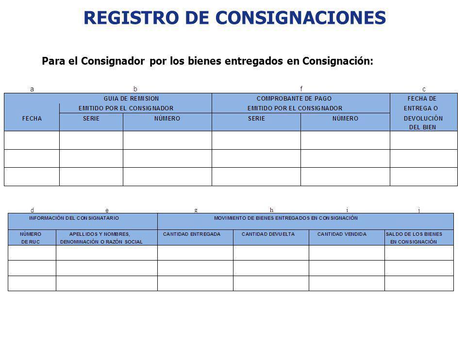 REGISTRO DE CONSIGNACIONES Para el Consignador por los bienes entregados en Consignación: