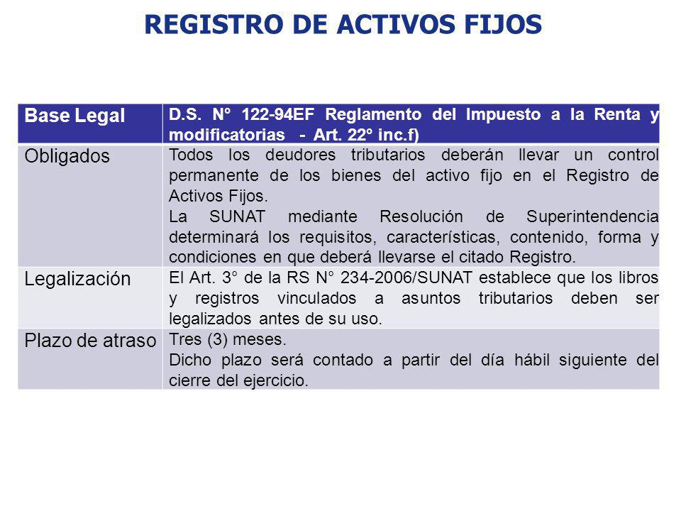 REGISTRO DE ACTIVOS FIJOS Base Legal D.S. N° 122-94EF Reglamento del Impuesto a la Renta y modificatorias - Art. 22° inc.f) Obligados Todos los deudor